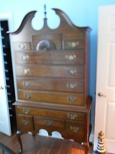 Image Is Loading Queen Anne High Boy Dresser 10 Drawers Cherry