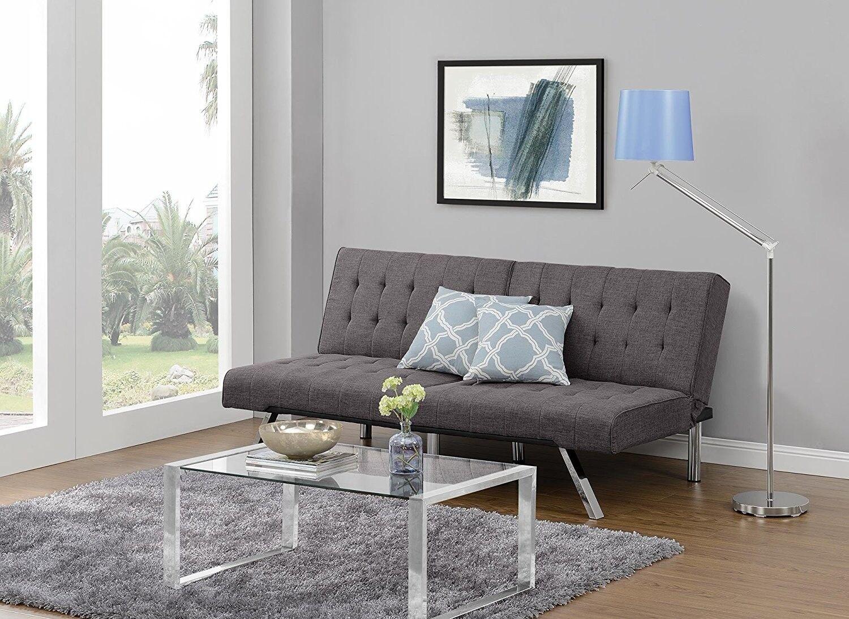 Fantastic Dhp Emily Futon Sofa Bed Modern Convertible Couch With Chrome Legs Quickly Con Inzonedesignstudio Interior Chair Design Inzonedesignstudiocom