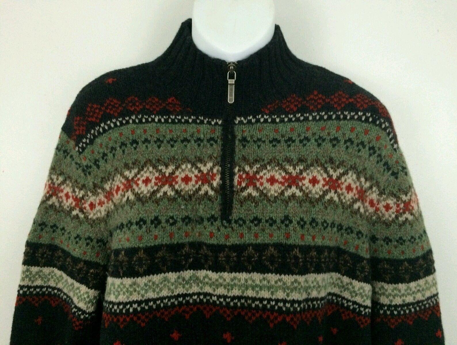 Lauren Lauren Lauren Ralph Lauren lana de cordero Lana Suéter verde Nórdica 1 4 Cremallera-Grande a2aba3