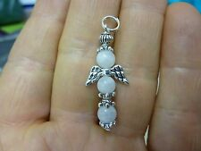 Pendentif Ange croix en Pierre de lune  perles 6mm