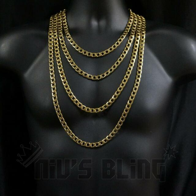 Fashion Mens 18K Gold Filled Heavy Stainless Steel Curb Chain Necklace