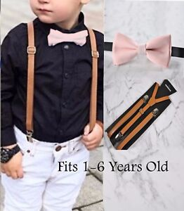 Kids Boys Pink Cotton Bow tie Brown Tan Leather Suspenders Braces Wedding set
