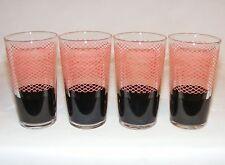 VINTAGE mid century moden GLASS TUMBLER SET 4 GLASSES Pink & Black 1950's