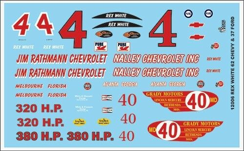 Gofer 12006 Rex White 62 Chevy and 37 Ford Decal Sheet 1//24 and 1//25