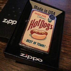Zippo-207-HOT-DOG-delicious-weiners-25-cents-vintage-poster-RARE-Lighter