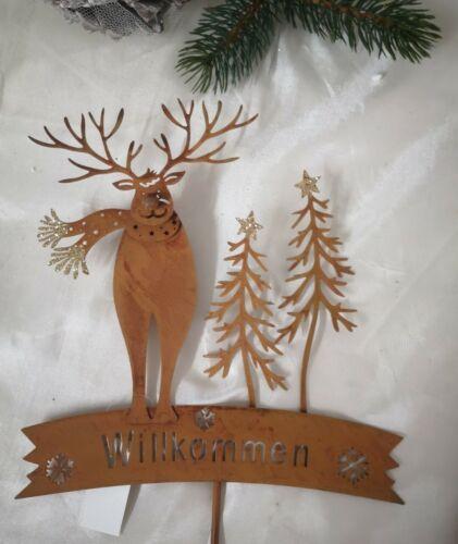 Gartenstecker Willkommen Hirsch Weihnachtsmann Rost Edelrost Stecker Gartenfigur