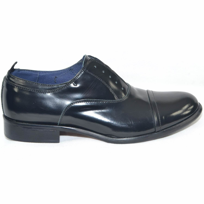 Scarpe uomo francesina inglese lucida punta alzata vera pelle lucida inglese nero made in italy 8c7664