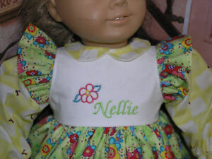 Nellie-Embroidered-Monogram-Name-Flower-Dress-18-034-Doll-clothes-fit-American-Girl