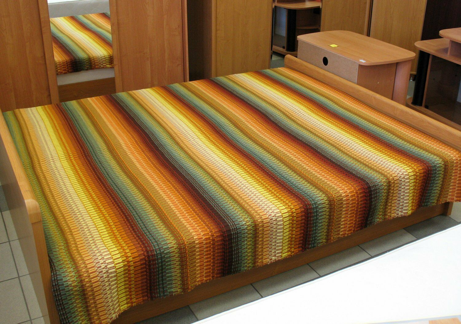 Twin Double Bed Quilt green brown orange tones 87  x 78  hand woven warm