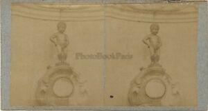 Manneken-Pis Belgium Foto Stereo Vintage Albumina Ca 1880
