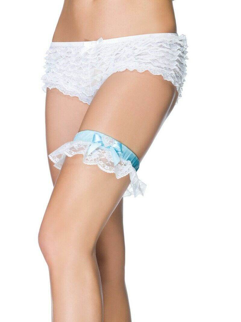 Leg Avenue Satin & Lace Garter with Mini Bows & Sequin Heart Charm   One Size
