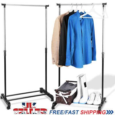 Adjustable Clothes Coat Garment Hanging Rail Rack Storage Shoe Stand On Wheels