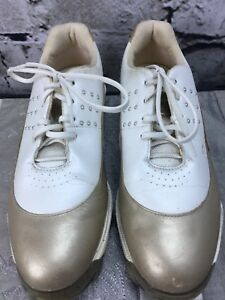 Adidas-Sz-7-Golf-Soft-Cleat-Shoes-Z-Traxion-FitFoam-Gold-Pearl-Tour-Metal-Women