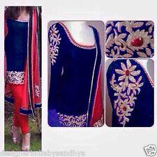 Punjabi Patiala salwar kameez Bollywood Designer Indian Embroidery raw silk suit