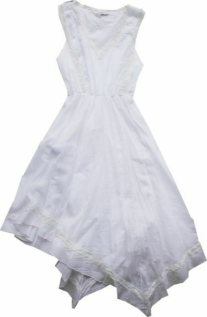 Imperial Size: L Aromatic Summer Dress White Dipped Hem Batiste A398188293