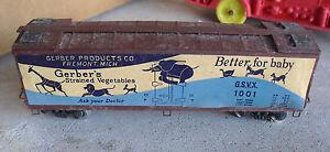 Vintage-HO-Scale-Mantua-Metal-Sides-Gerber-Vegetables-Box-Car