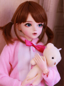 Maedchen-60cm-1-3-BJD-Puppe-Doll-Mit-Full-Set-Outfit-Augen-Face-Make-up-Clothes