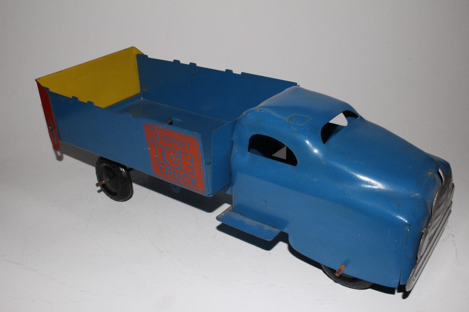 594ms Banner Juguetes Acero Prensado Ice Camión, Azul, Buen Estado Original