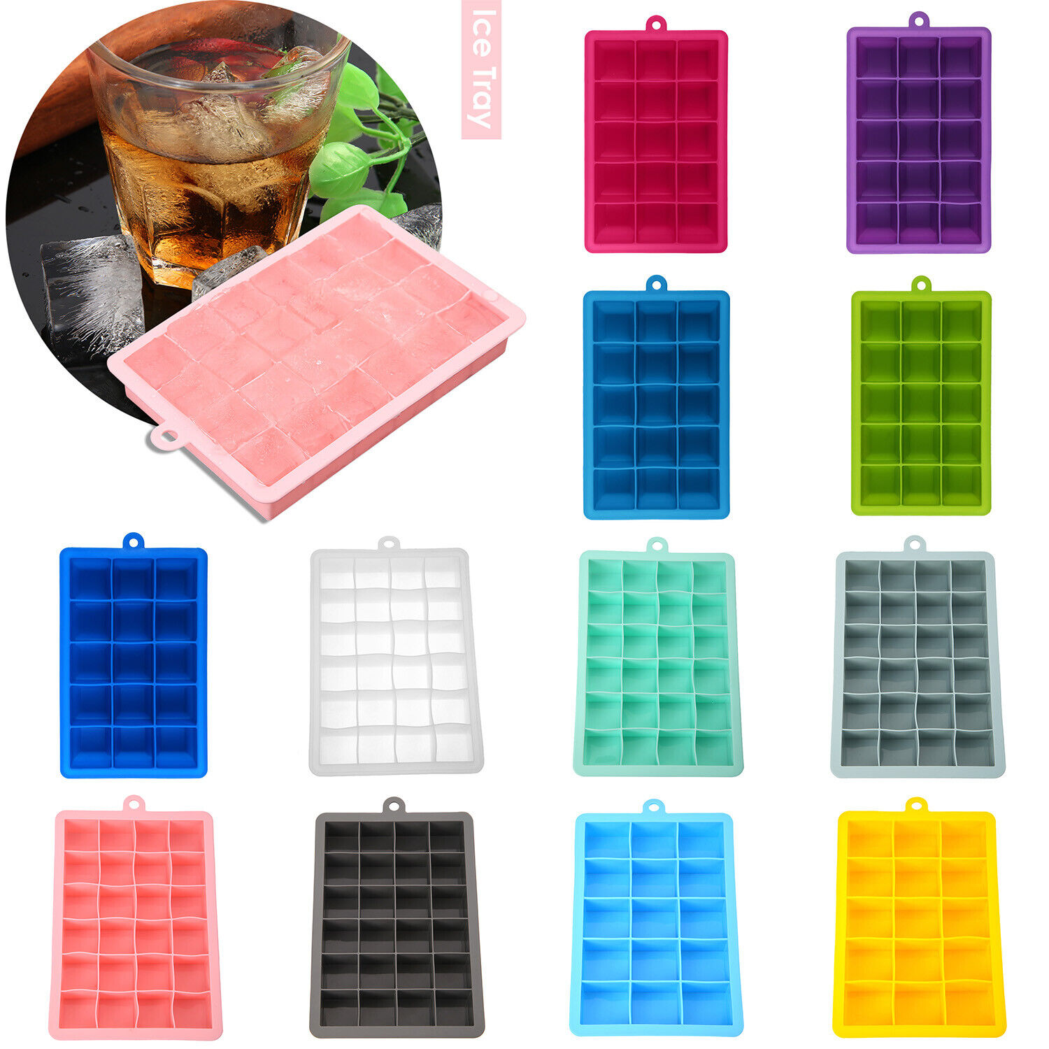Silicone 15/24 Grids Ice Cube Maker DIY Ice Cube Mold Ice Tray Jelly Mould Tool