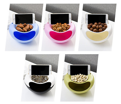 Plastic Double Layer Dry Fruit Containers Snack Seeds Storage Box Garbage Holder