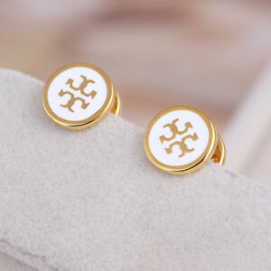 Image Is Loading Tory Burch White Lacquered T Logo Gold Stud