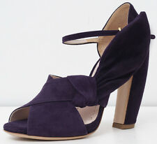 NEW ~ MIU MIU ~ Italy Suede Leather Curved Heels Dark Purple Bow SIZE 36.5 / 6.5