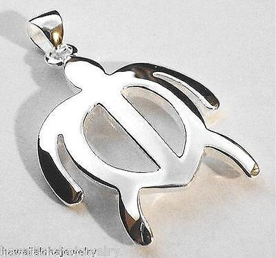 38MM SOLID 925 STERLING SILVER HAWAIIAN PETROGLYPH HONU SEA TURTLE PENDANT