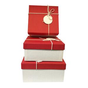 Image is loading LUXURY-RED-RIGID-SQUARE-WEEDING-BIRTHDAY-GIFT-BOX-  sc 1 st  eBay & LUXURY RED RIGID SQUARE WEEDING BIRTHDAY GIFT BOX WITH BOW AND TAG ...