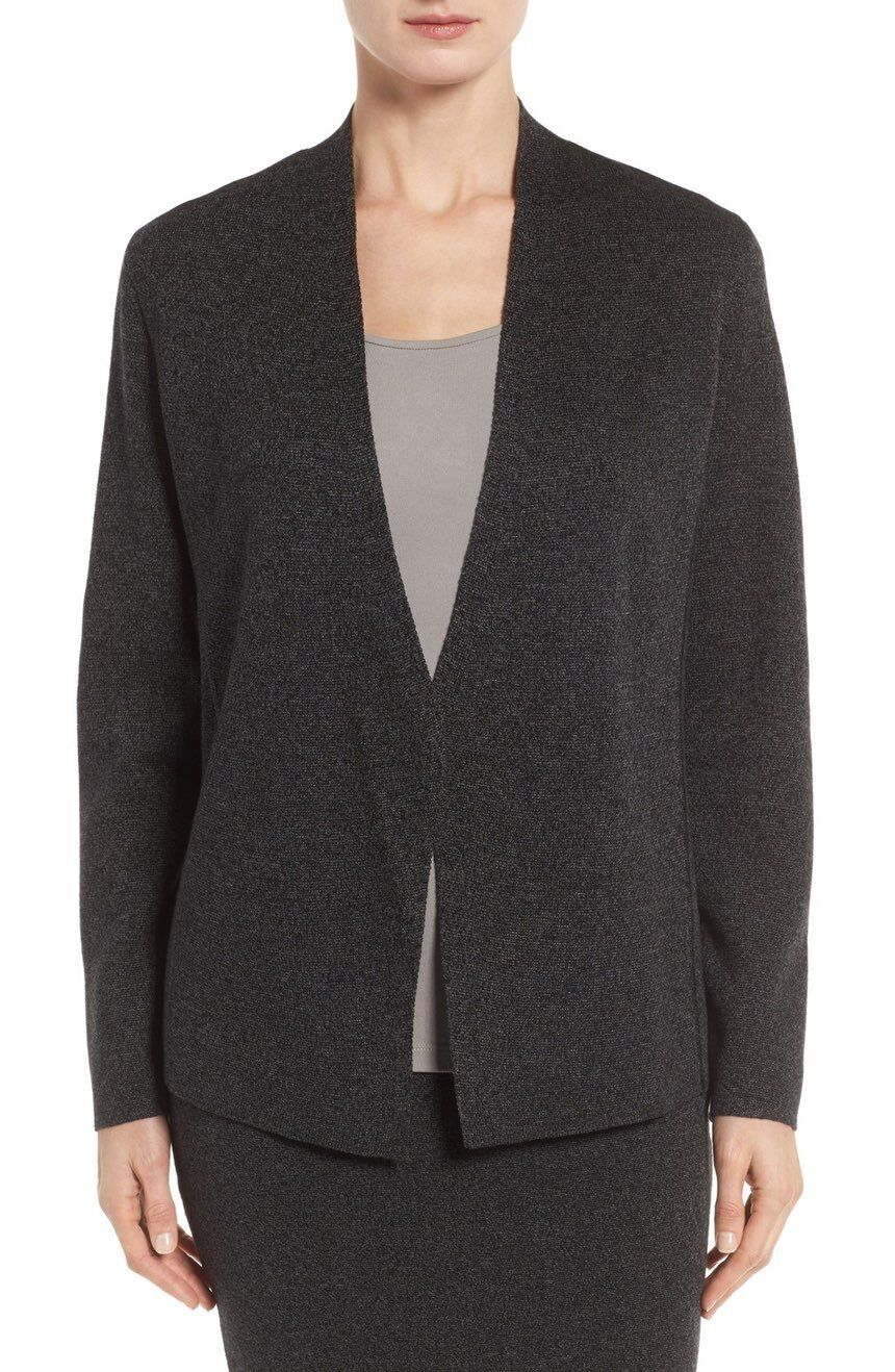 Eileen Fisher Fisher Fisher Petite Sleek Merino Wool Shaped Open Front Charcoal Cardigan PP 5968ba