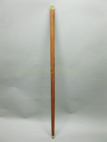 LOT OF SIX NO FOLD 1 PIECE BROWN WOOD WALKING CANES,iNCLUDES TIP BRASS COLLAR