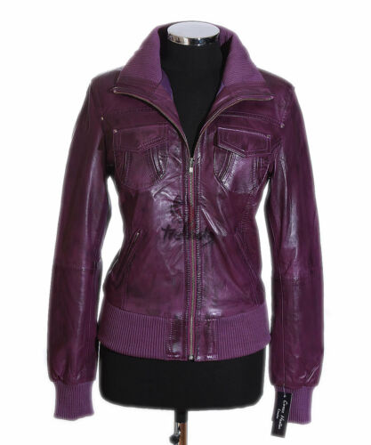 Designer Lambskin Real Leather Brooklyn Purple Ladies Style Bomber Jacket Waxed vxq8Tq7Yw