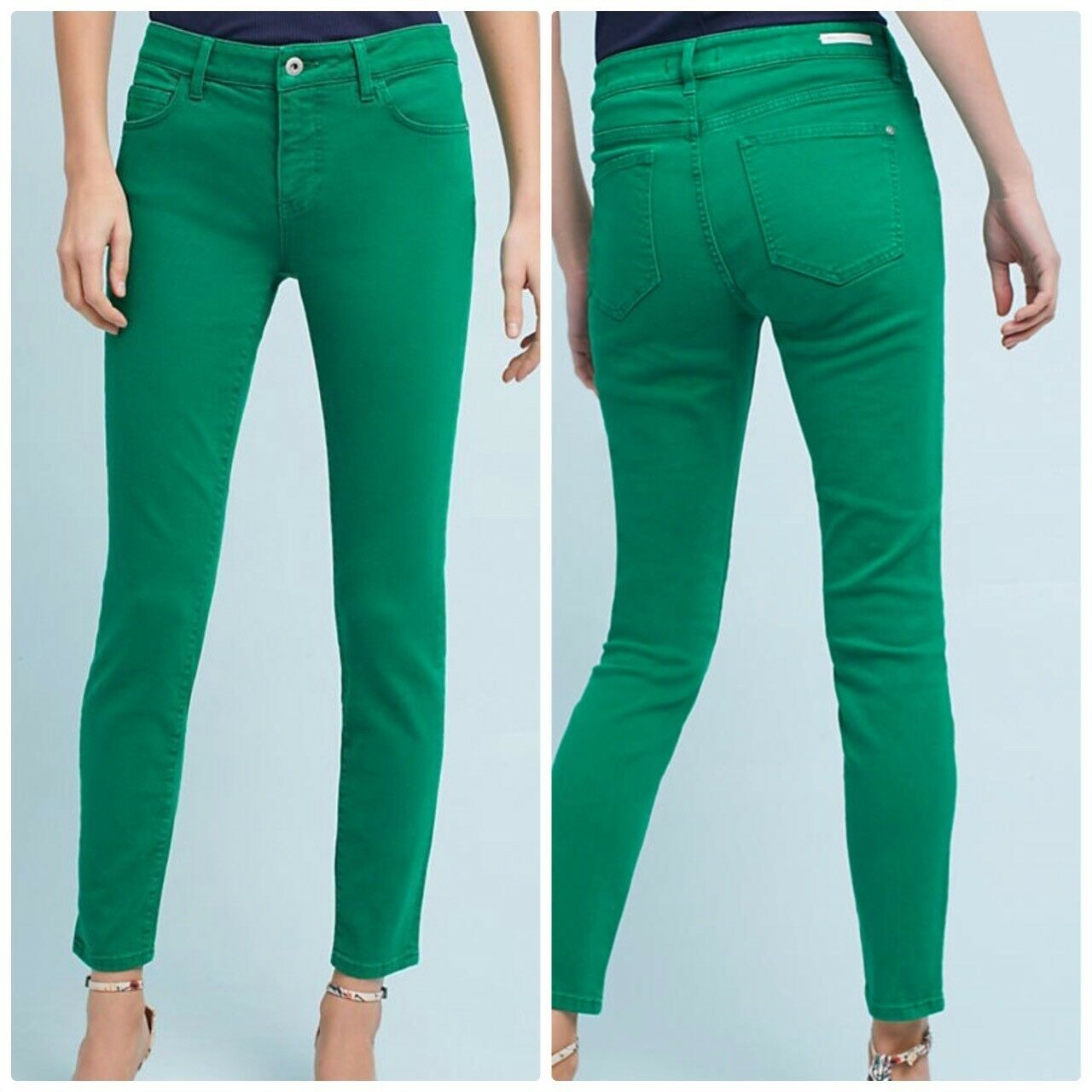 Anthropologie Pilcro Mid-Rise Skinny Jeans Green Irish Size 25 NEW