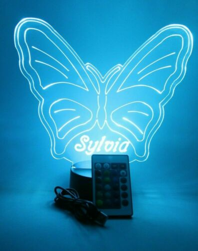 Butterfly Light Up Night Light Desk Table Lamp LED With Remote Personalized Free