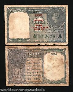 Details about BURMA on INDIA 1 RUPEE P30 1947 KING GEORGE VI COIN OVPT  MYANMAR BANK NOTE