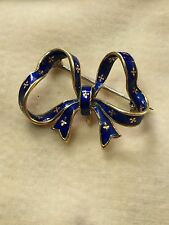 15ct Victorian. Yellow Gold & Blue Enamel Ribbon/Bow Brooch