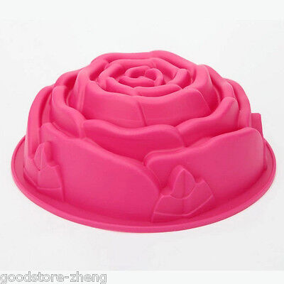 Food Grade Silicone Big Rose Flower Shape Bakeware Baking Mold JELLY Cake Pan