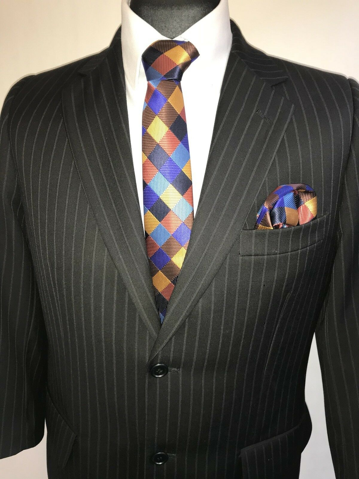 MS2040 Charlton GRAY 3/4 MEN'S rayures noires manches 3/4 GRAY Costume Blazer Jacket Taille 40 S c9e8f3