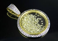 Floating Canary Simulated Diamond Yellow Gold Finish Glass Pendant Brass 1.35