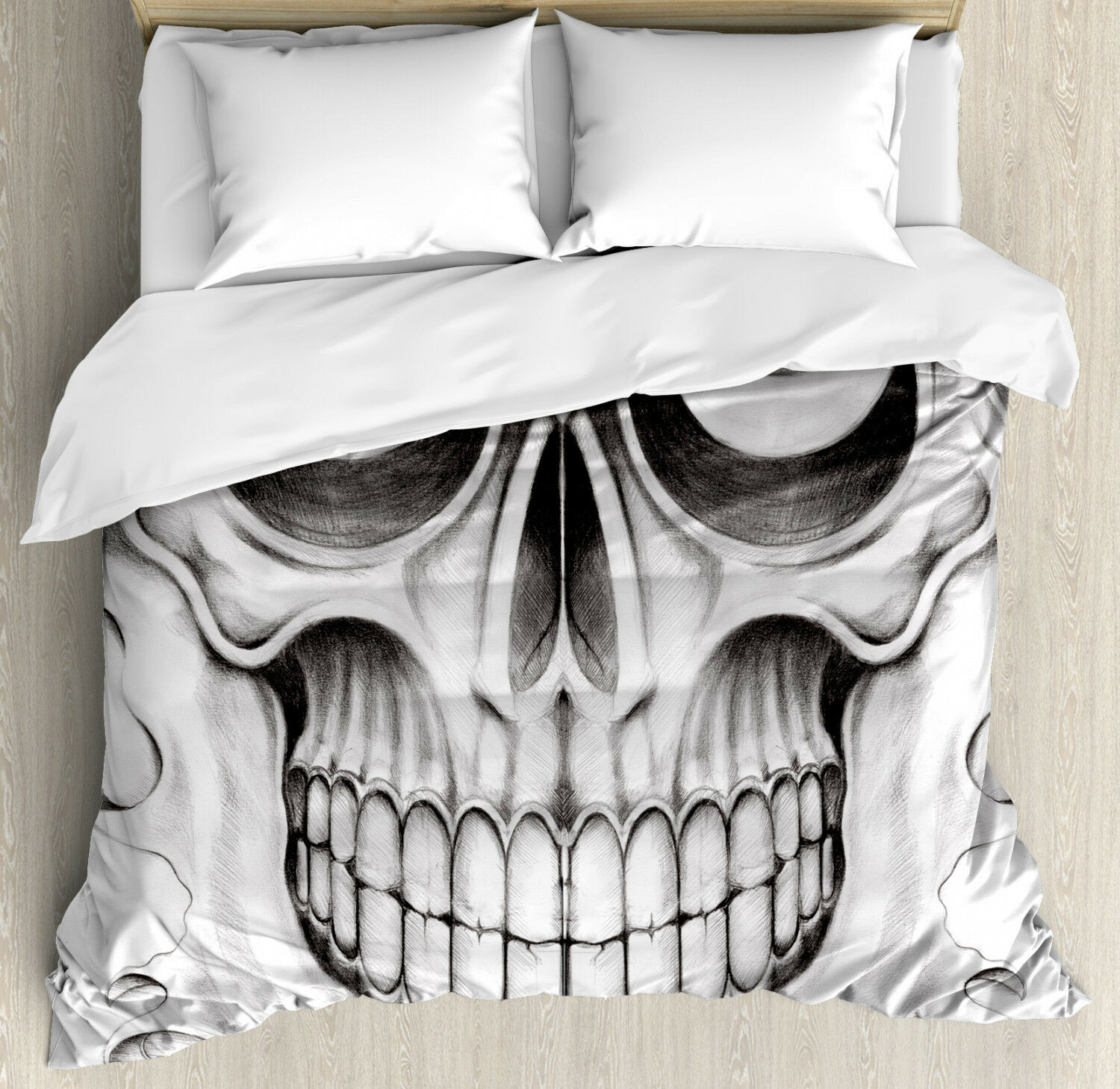 Celebration Duvet Coverset with Pillow Shams Skull Face Angry Print