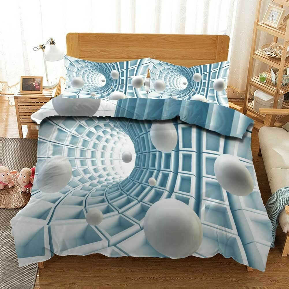 Space Mystery 3D Quilt Duvet Doona Cover Set Single Double Queen King Print