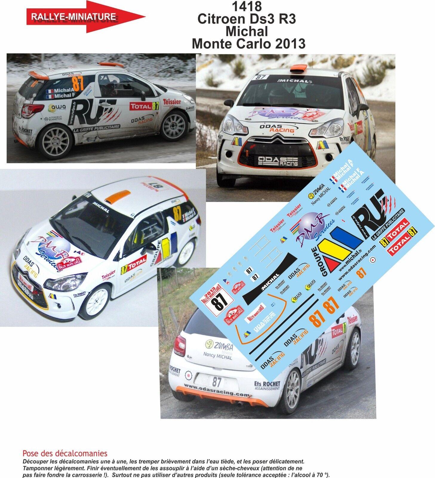 DECALS 1/43 REF 1418 RALLYE CITROEN DS3 R3 MICHAL RALLYE 1418 MONTE CARLO 2013 RALLY WRC 3eea15