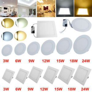 1-20pcs-3W-6W-9W-12W-15W-18W-24W-LED-Recessed-Panel-Light-Ceiling-Down-Lights-US