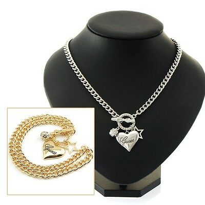 Charm Women Plated Pentagram RhineStone Crystal Heart Pendant Necklace Fashion