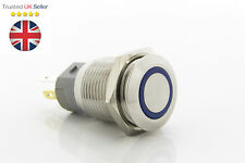 Stainless Steel Blue 12V LED Power Button Latching Switch Push ON/OFF 16mm UK