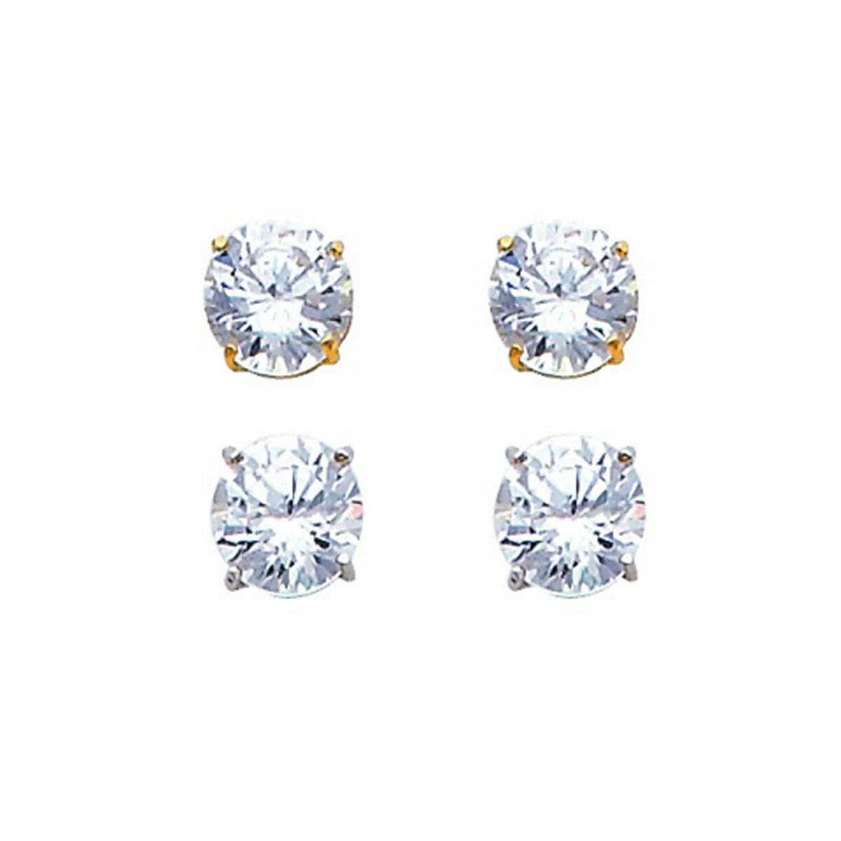 1 Carat Solitaire Stud Round Simulated Diamonds Solid 14k gold Unisex Earrings