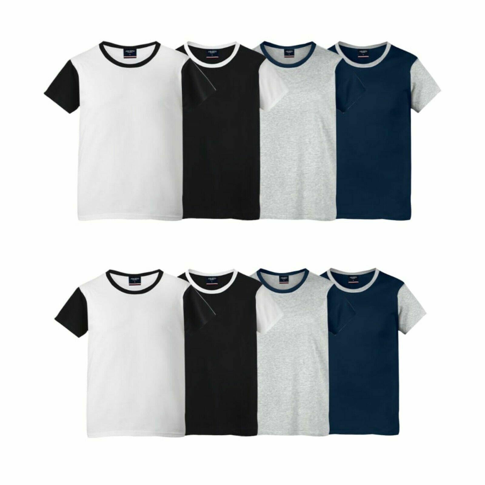Men's Summer Plain T-Shirt 100% Cotton Gym Top Multi Pack 4