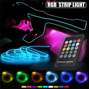 5x-RGB-LED-Neon-EL-Auto-Strip-Leiste-Innenraum-Ambientebeleuchtung-Sound-Control