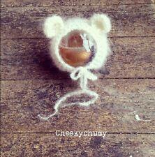 Handmade ivory crochet Teddy bear Bonnet.  Photo photography prop. Newborn.