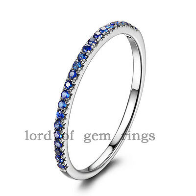 Stackable Pave Brilliant Blue Sapphire 14K White Gold Half Eternity Wedding Ring