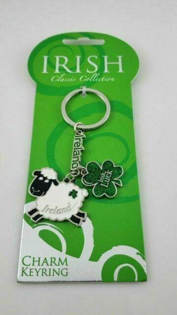"Classic Irish Metal Keyring Tricolour Shamrock Charm Keychain 1.5 x 1.5/"""